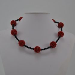 Black Beads Red Bobble Spheres Necklace