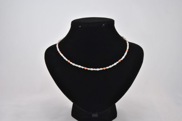 Cream Peach Gold Beads Necklace