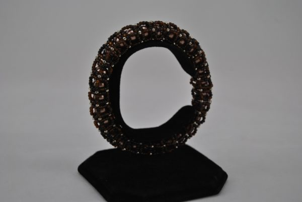 Coffee Pearls Chocolate Seed Beads Caged Bangle Bracelet