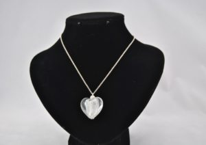White Silver Frosted Lamp Work Bead Pendant Necklace