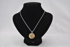 Mother of Pearl Disk Silver Chain Necklace