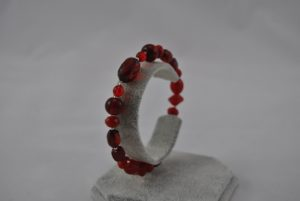 Red Large Mixed Beads Memory Wire Bracelet