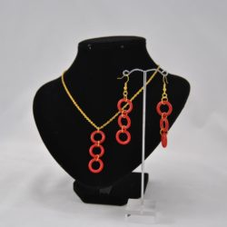 Gold Chain Red Rings Dangle Necklace Ear Rings