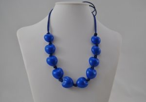 Blue Acrylic Hearts Silky Cord Necklace