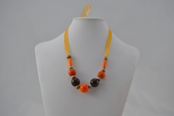 Orange Brown Wooden Beads Organza Ribbon Necklace
