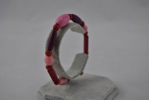 Pink Purple Large Mixed Beads Memory Wire Bracelet