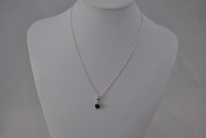 Black silver Heart Pendant Silver Chain Necklace