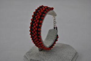 Red Bi-cones Black Seed Beads Cuff Bracelet