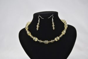 Lime Green Glass Beads Necklace Ear Rings Set