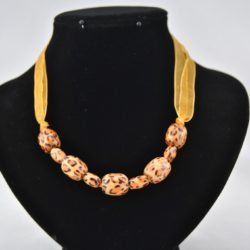 Leopard Pattern Beads Golden Organza Ribbon Necklace