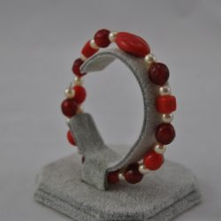 Cream Pearls Red Beads Memory Wire Bracelet