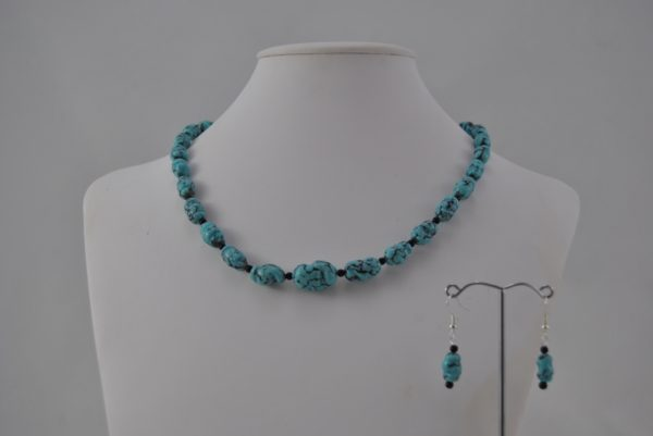 Turquoise Blue Ceramic Nugget Beads Necklace Ear Rings Set