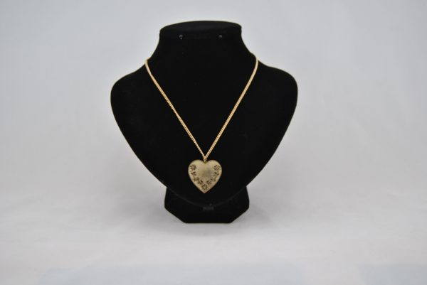 Gold Heart Pendant Gold Chain Necklace