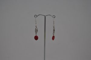 Red Silver Beads Drop Ear Rings