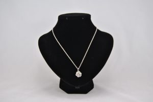 Diamante Silver Sphere Pendant Necklace