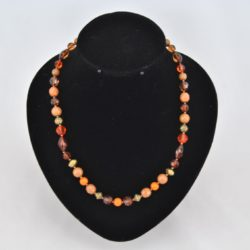 Mixed Brown Orange Beads Necklace