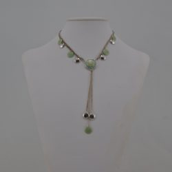 Silver Chain Green Medallion Pendant Necklace
