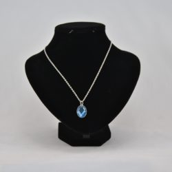Blue Silver Oval Pendant Silver Chain Necklace