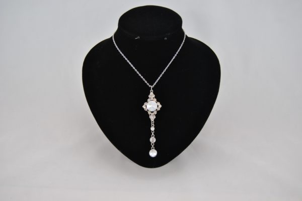 Crystal Dangle Silver Chain Necklace