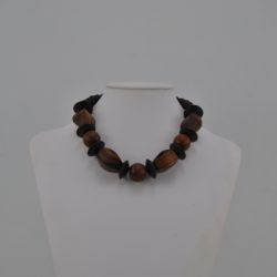 Large Mixed Brown Wooden Beads Necklace