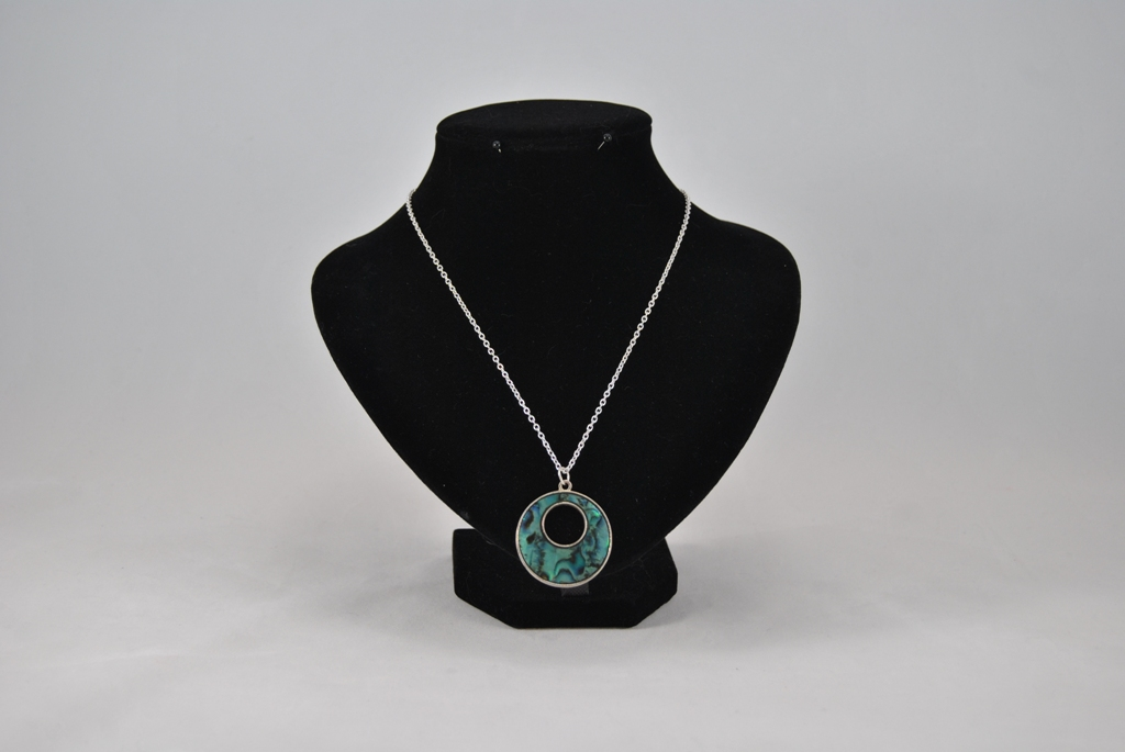 Silver Chain Green Shell Medallion Pendant Necklace