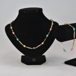 Chain Linked Multi Colour Beads Necklace Bracelet