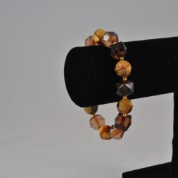 Mixed Amber Brown Beads Chunky Bracelet