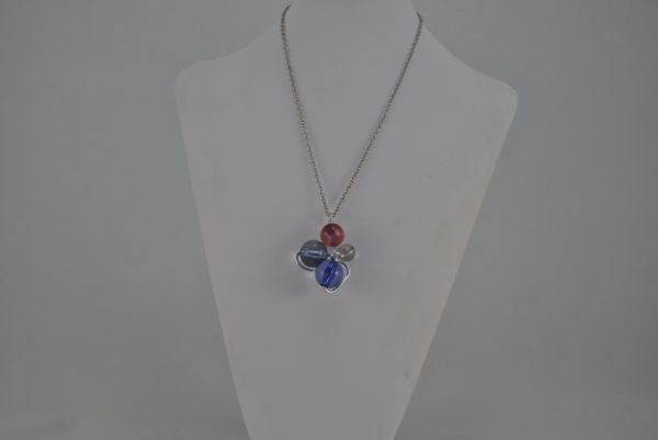 Wire Wrapped Purple Gray Beads Pendant Necklace