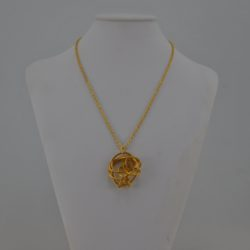 Gold Wire Abstract Free Form Pendant Necklace