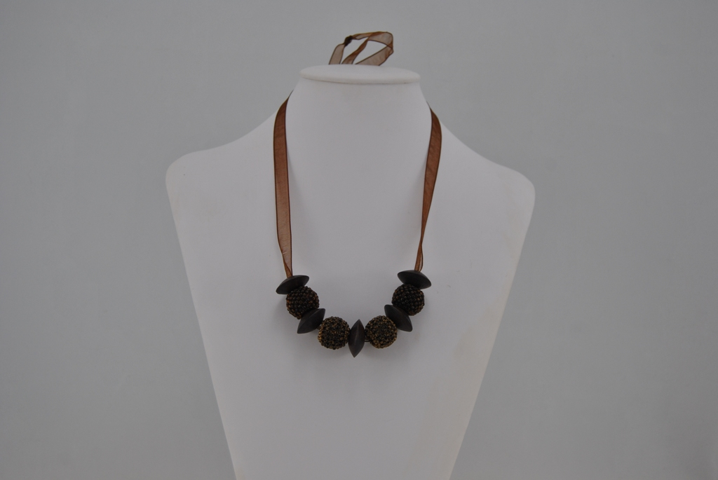 Brown Spheres Wooden Disk Beads Organza Ribbon Necklace