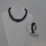 Black Acrylic Mixed Beads Necklace Bracelet Set