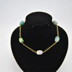 Gold Chain Linked Green Agate Necklace