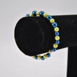 Blue Pearls Lime Beads Single Strand Memory Wire Bracelet