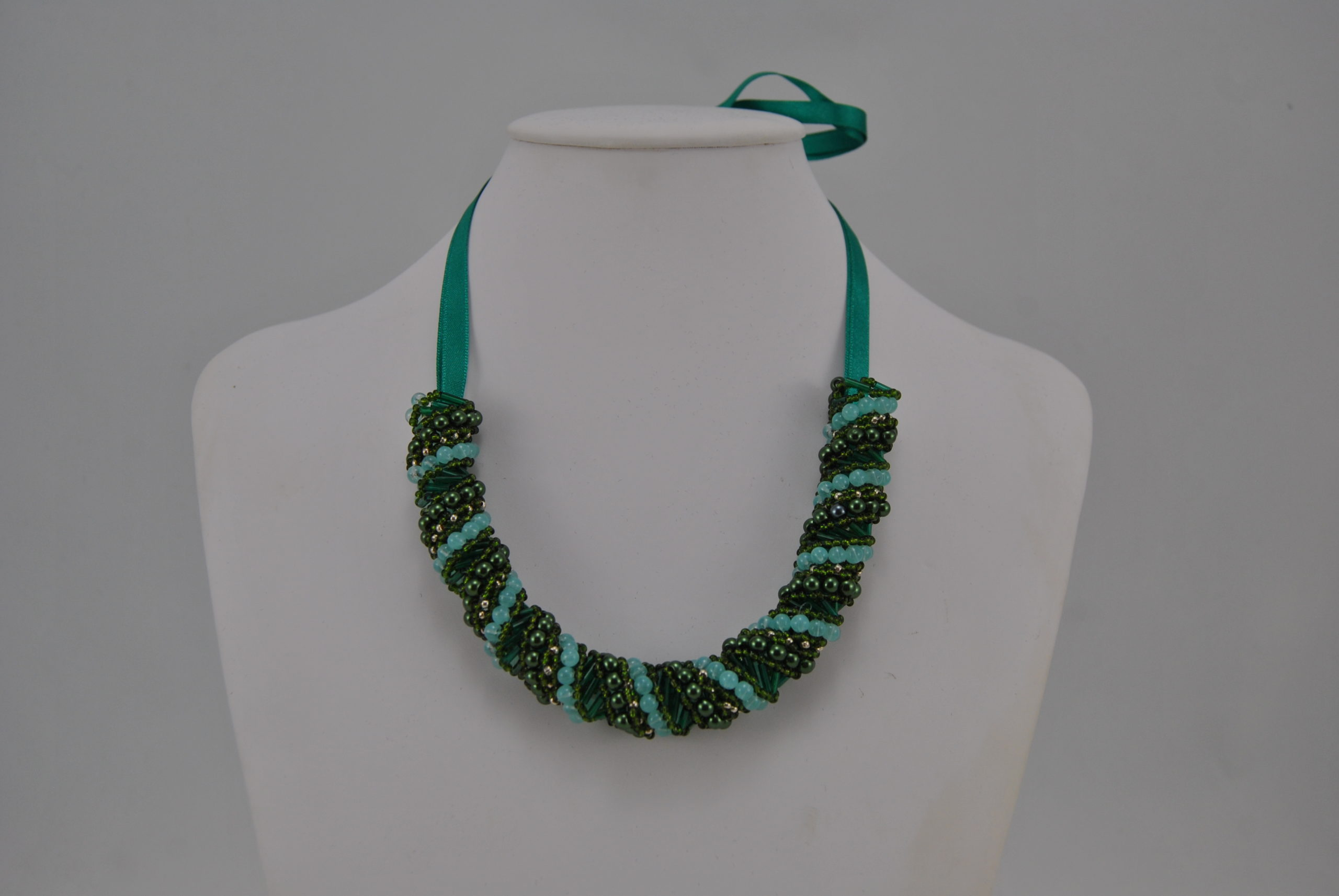 Green Blue Bronze Russian Spiral Necklace