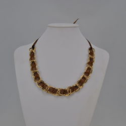 Very Chunky Golden Chain Chocolate Ribbon Necklace