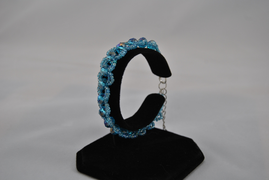 Blue Double Loops Cuff Bracelet