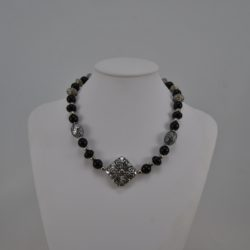 Mixed Black Silver Acrylic Beads Necklace