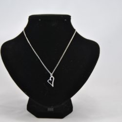 Off Set Silver Heart Pendant Necklace