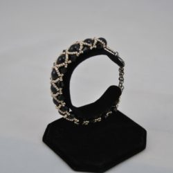 Black Beads Bi-cones Gold Seed Beads Cuff Bracelet