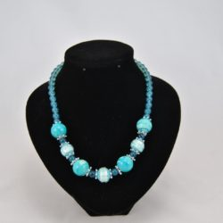 Mixed Large Blue Silver Beads Small Blue Beads Necklace