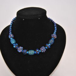 Mixed Metallic Blue Beads Necklace
