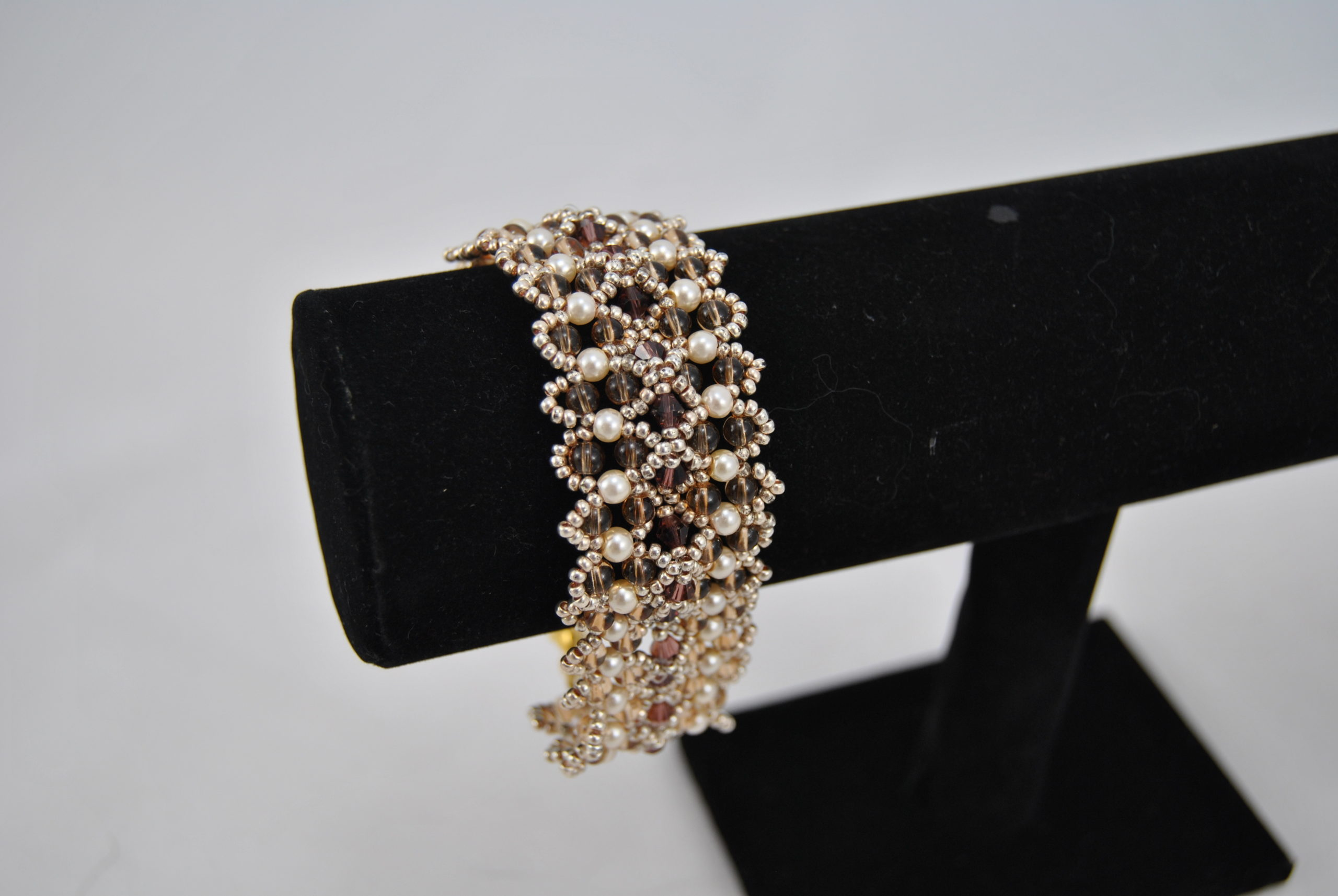 Gold Seed Beads Cream Pearls Topaz Beads Extra Wide Bracelet
