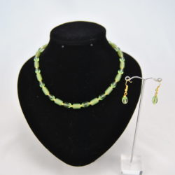 Green Glass Beads Gold Beads Necklace Ear Rings Set