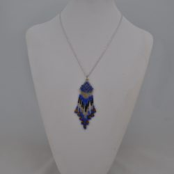Blue Seed Bead Pendant Silver Chain Necklace