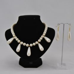 Cream Glass Pearls Dangles Necklace Ear Rings