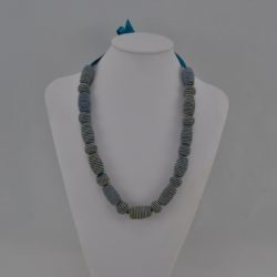 Blue Satin Ribbon Blue Cream Striped Bead Necklace