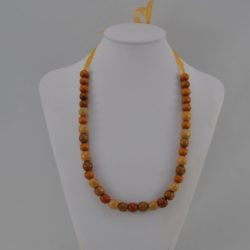 Brown Beige Wooden Beads Organza Ribbon Necklace