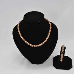 Coffee Pearls Gold Banded Beads Necklace Bracelet Set