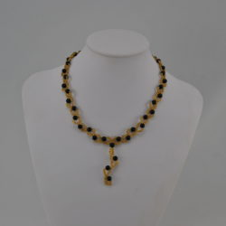 Black Pearls Gold Seed Beads Dangle Necklace