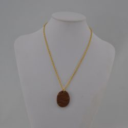 Brown Beige Clay Pendant Necklace